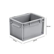 Euro Box Serie EF 2120, aus PP, Inhalt 1,9 L, geschlossene Wände, Unterfassgriff, grau