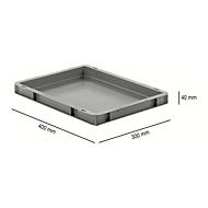 Euro Box Serie EF 4040, aus PP, Inhalt 3,6 L, geschlossene Wände, Unterfassgriff, grau