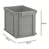 Euro Box Serie EF 4320, aus PP, Inhalt 29,5 L, geschlossene Wände, Unterfassgriff, grau