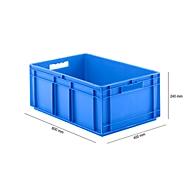 Euro Box Serie EF 6240, aus PP, Inhalt 47,5 L, geschlossene Wände, blau, Durchfassgriff