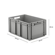 Euro Box Serie EF 6280, aus PP, Inhalt 56,6 L, geschlossene Wände, grau, Durchfassgriff