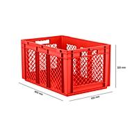 Euro Box Serie EF 6321, aus PP, Inhalt 63,7 L, durchbrochene Wände, rot, Durchfassgriff