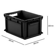Eurobox serie EF 4220, geleidend PP, inhoud 20,4 l, open handgreep, zwart