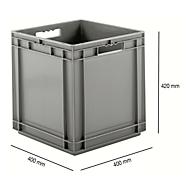 Eurobox serie EF 4440, van PP, inhoud 53,9 l, gesloten wanden, open handgreep, grijs