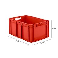 Eurobox serie EF 6280, van PP, inhoud 56,6 l, gesloten wanden, rood, open handgreep