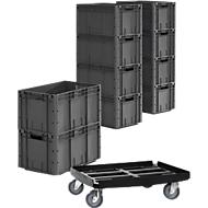 Eurobox serie EF 6320, L 594 x B 396 x H 320 mm, 62,7 l, tot 35 kg, 10 stuks + gratis kunststof rolframe