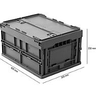 Euronorm plooibox 4322 DL, met deksel, voor magazijngebruik en meervoudig transport, inhoud 19 l, grijs