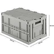 Euronorm plooibox FK E-D-6320-2, met deksel, 64 l, grijs