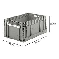 Euronorm vouwkrat ECT 6285 GL, L 600 x B 400 x H 285 mm, 55,8 l, zonder deksel, grijs