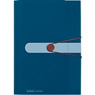 Fächermappe, A4, Recycling-PP-Folie, 12 Fächer + Visitenkarten-Tasche, dunkelblau