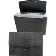 Fächermappe Kolma LinaVerde, A4, 12 Taben, 100 % Recyclingmaterial, schwarz/transparent-gefrostet