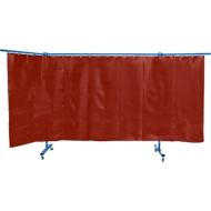 Fahrbare Schutzwand m. Folienvorhang, 3-tlg., rot
