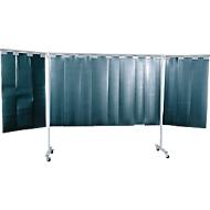 Fahrbare Schutzwand mit Lamellen, 3-tlg., dunkelgrün