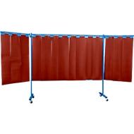 Fahrbare Schutzwand mit Lamellen, 3-tlg., rot