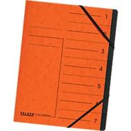 FALKEN Dokumentenmappe, DIN A4, Gummizugverschluss, Karton, 12 Fächer, orange