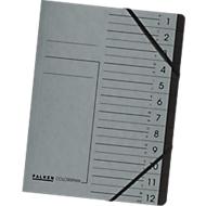 FALKEN Dokumentenmappe, DIN A4, Gummizugverschluss, Karton, 7 Fächer, grau