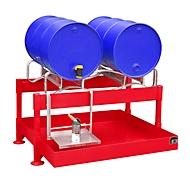Fass-Abfüllstation BAUER FAS-2, Auffangwanne 220 l, für 2 x 200 l-Fässer, B 1300 x T 1550 x H 735 mm, feuerrot RAL 3000