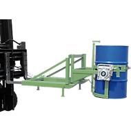 Fasskipper Bauer Typ FD/L, für 110 bis 220 l Fässer, 360 kg, 270° Kippen, mit Handkurbel, Stapleraufnahme, resedagrün RAL 6011
