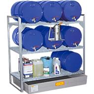 Fassregal Typ 360, für 6 Fässer à 10 l, 2 Gitterrostebenen, 6 Fassauflagen & GFK-Auffangwanne für 150 l