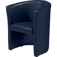 Fauteuil Club, leder-look, donkerblauw