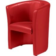 Fauteuil Club, leder-look, rood