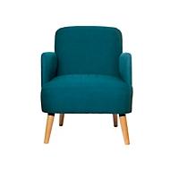 Fauteuil Paperflow Brooks, massief hout, retrodesign, gestoffeerd, polyester bekleding, blauw