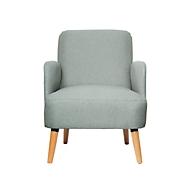 Fauteuil Paperflow Brooks, massief hout, retrodesign, gestoffeerd, polyester bekleding, grijs