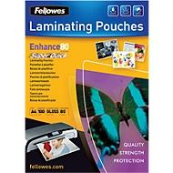 Fellowes® pochettes à plastifier SuperQuick, brillantes, A4, 80 microns, 100 pièces