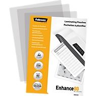 Fellowes® pochettes de plastification, format A4, 80 microns, paquet de 250 pièces