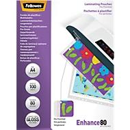Fellowes® Pochettes de plastification perforées, A4, 80 microns,1 paquet de 100 pièces