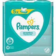 Feuchttücher Pampers® Sensitive, 1-lagig, alkohol-& parfümfrei, dermatologisch getestet, 5 x 52 Tücher, weiß