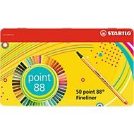 Feutres à dessiner Stabilo Point 88, épaisseur de trait 0,4 mm, 50 pièces, dans étui métal