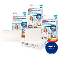Fijnstoffilter Tesa® Clean Air®, voor printers/faxen/kopieerapparaten, Maat S +1 x 75 ml blik Nivea-crème GRATIS