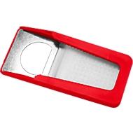 Flaschenöffner, mit Verschluss, anteilig aus recyceltem Kunststoff, B 41 x T 93 x H 12 mm, rot