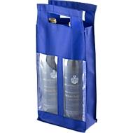 Flaschentasche Double, mit Sichtfenster, blau