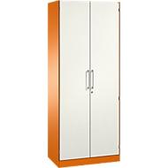 Flügeltürenschrank ASISTO C 3000, 5 Ordnerhöhen, mit Akustikfronten, B 800 mm, orange/weiß