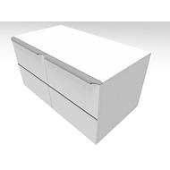 Flügeltürenschrank QUANDOS BOX, 1 Ordnerhöhe, B 800 x T 440 x H 374 mm, weiß