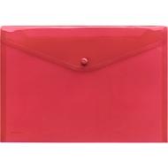 FolderSys Dokumententasche, DIN A4 quer, Druckknopfverschluss, PP, rot transparent