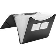 FolderSys Fächermappe, 12 Fächer, DIN A4-Format, Eckspann-Gummi, schwarz