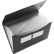 FolderSys waaiermap, 12 vakken, A4-formaat, hoekelastiek, rook