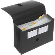 FolderSys waaiermap, 12 vakken, A4, met klittenbandsluiting, zwart