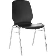 Formschalenstuhl 710, Sitzschalenform gerundet, schwarz