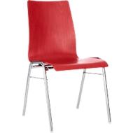 Formschalenstuhl 720, Sitzschalenform konisch, rot