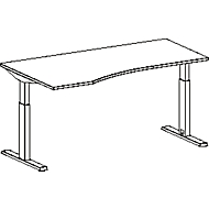 Freiformschreibtisch MODENA FLEX, Ansatz links, B 1800 mm, lichtgrau