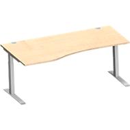 Freiformschreibtisch MODENA FLEX, C-Fuß-Rechteckrohr, B 1800 mm, Ansatz links, Ahorn/weißalu