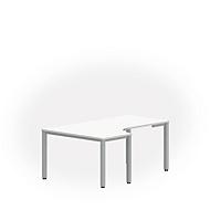 Freiformtisch NEVADA, B 1800 x T 1200/800 x H 720 mm, weiß/alusilber
