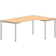 Freiformtisch NEVADA, B 1800 x T 1200/800 x H 740 mm, rund, Buche-Dekor/alusilber