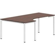 Freiformtisch NEVADA, B 1800 x T 1200/800 x H 740 mm, rund, Lärche grau/weiß