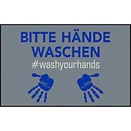 Fußmatte Bitte Hände waschen, Polyamid, Rücken/Ränder aus Nitrilgummi, waschbar, L 750 x B 1200 mm, grau/blau