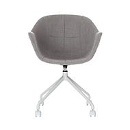 Ganterschaalstoel, B 620 x D 575 x H 850 mm, 360° draaibaar, wielen, gestoffeerd, polypropyleen & gelakt staal, grijs/wit